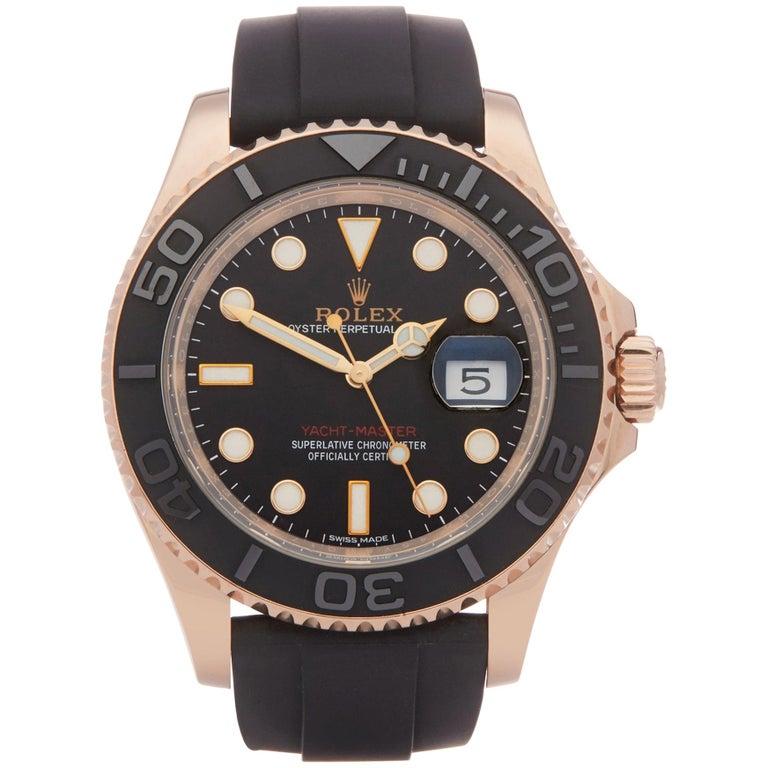Rolex Yacht-Master 40 116655 Men's Rose Gold Oysterflex Watch For Sale
