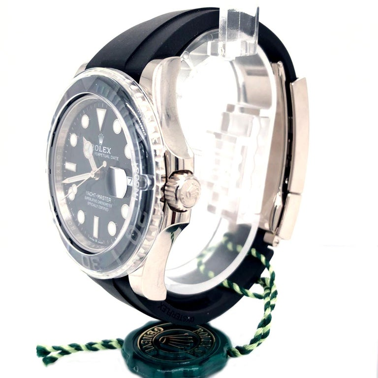 Modernist Rolex Yacht-Master Automatic Black Dial 18ct Oysterflex Rubber Strap 226659 For Sale