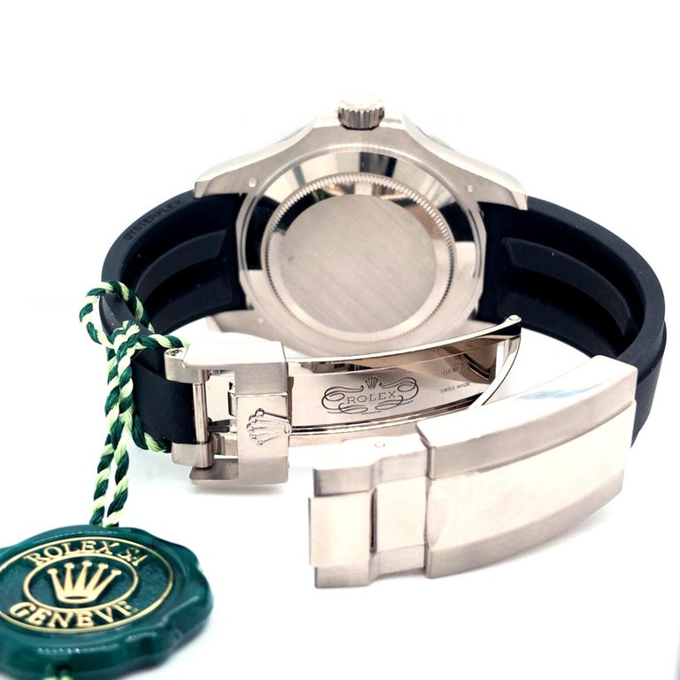 Rolex Yacht-Master Automatic Black Dial 18ct Oysterflex Rubber Strap 226659 For Sale 2