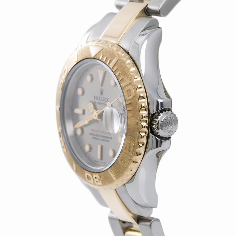 Contemporary Rolex Yacht-Master 69623, Silver Dial, Certified and Warranty For Sale