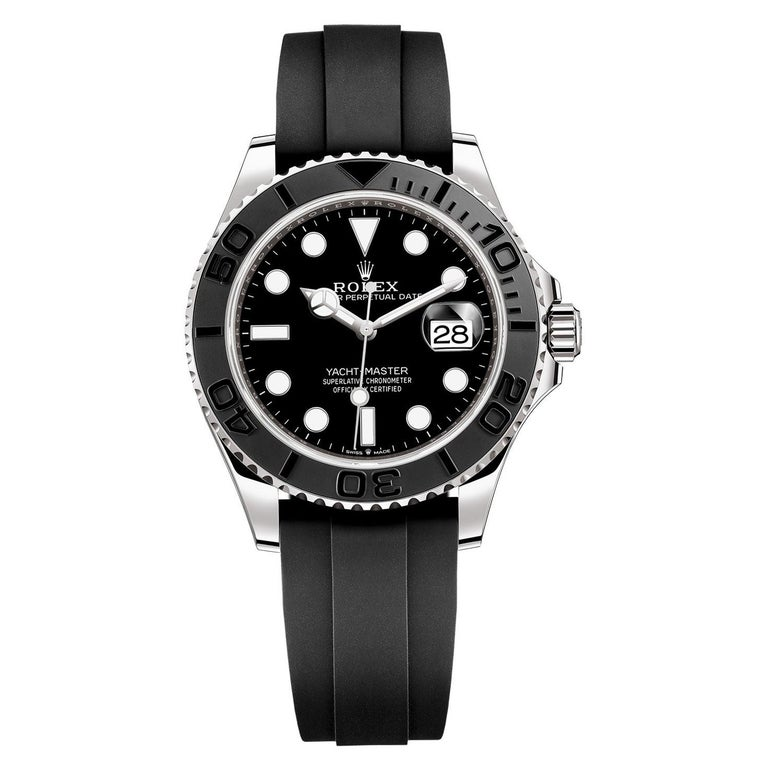 Rolex Yacht-Master Automatic Black Dial 18ct Oysterflex Rubber Strap 226659 For Sale