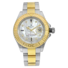 Rolex Yacht Master Gold Steel Serti MOP Dial Sapphire Diamond Men's Watch 16623