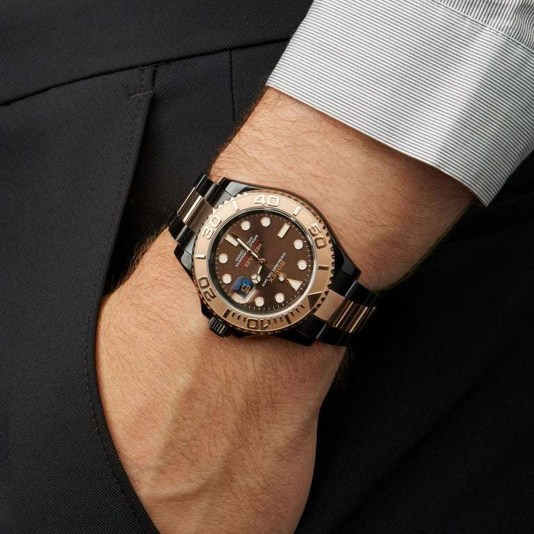 Rolex Yacht-Master Hercules Dlc Coated Stainless Steel and 18 Karat Gold 116621 For Sale 4