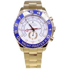 Rolex Yacht Master II 116688 Blue Ceramic Bezel 18 Karat Gold Box and Papers