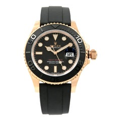 Rolex Yacht-Master Matt Black Dial Everose Gold Rubber Automatic Watch 116655