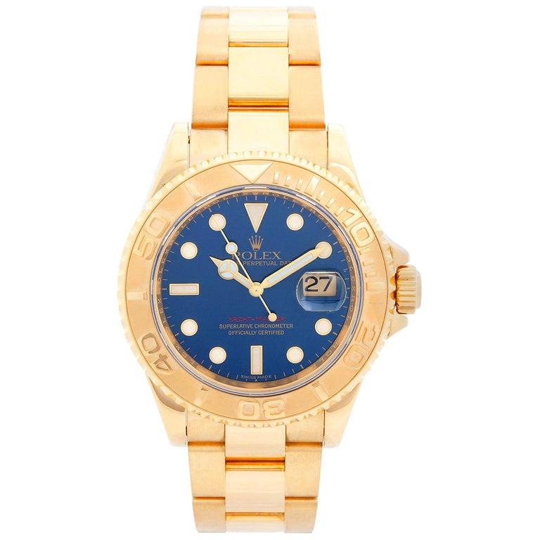 Rolex Yacht-Master Men's 18 Karat Yellow Gold Watch 16628 For Sale