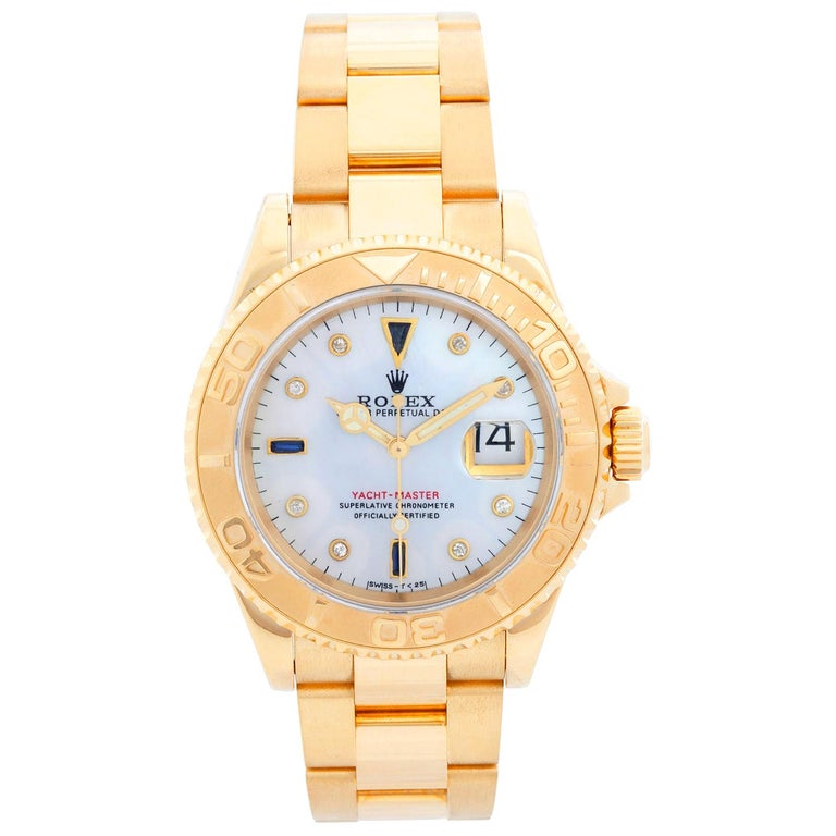Rolex Yacht-Master Men's 18 Karat Yellow Gold Watch Mother of Pearl 16628