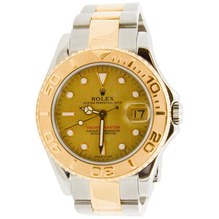 Rolex Yacht-Master Steel 18 Karat Yellow Gold and Champagne Ladies Watch 68623