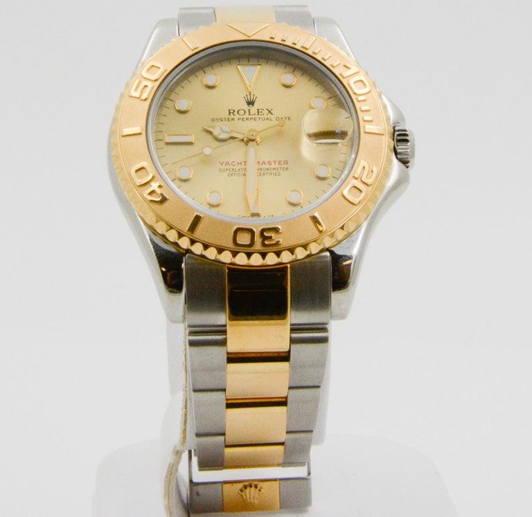 Women's Rolex Yacht-Master Steel 18 Karat Yellow Gold and Champagne Ladies Watch 68623