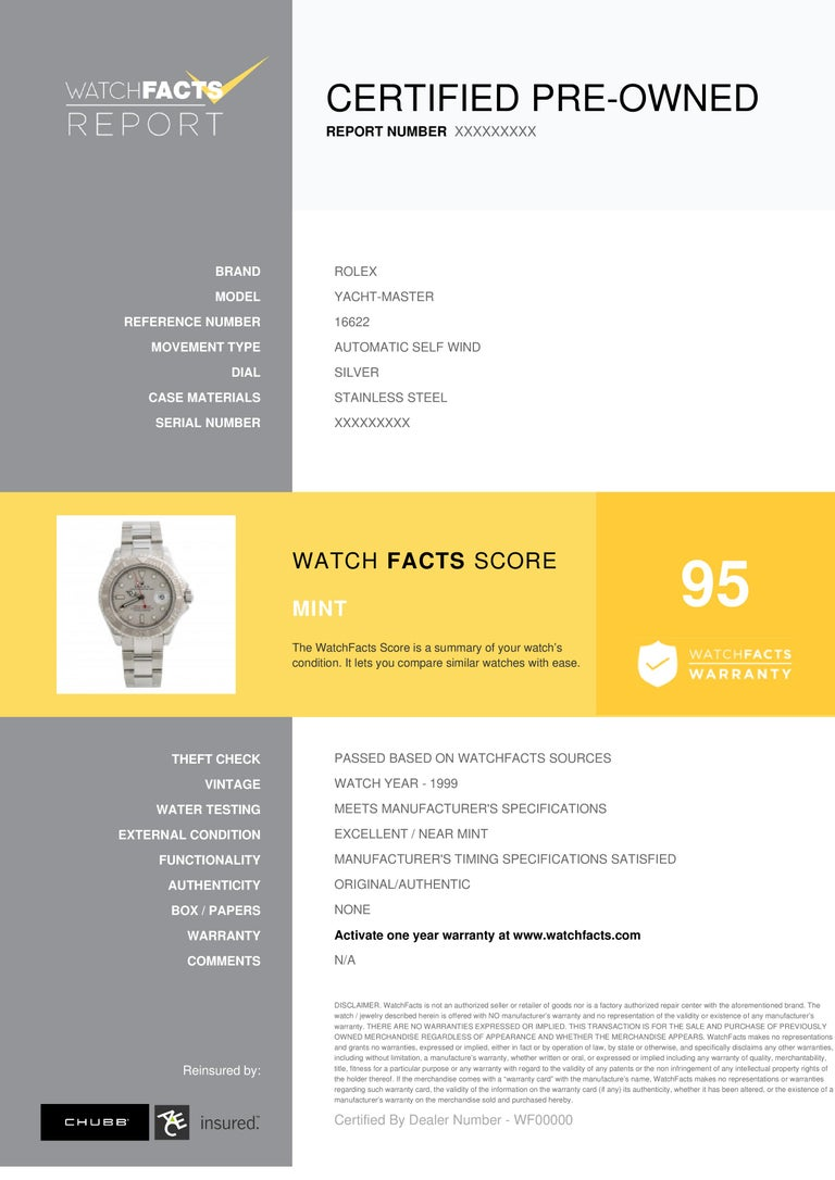 Rolex Yacht-Master Reference #:16622. Rolex Yacht-Master 16622 1999 Mens Automatic Watch Platinum Dial & Bezel 40mm. Verified and Certified by WatchFacts. 1 year warranty offered by WatchFacts.