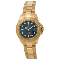 Rolex Yachtmaster 169628 Womens Automatic Watch Blue Dial 18 Karat Yellow Gold