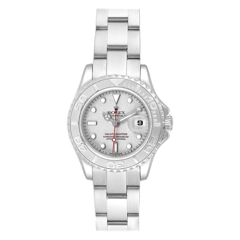 Rolex Yachtmaster 29 Red Hand Steel Platinum Ladies Watch