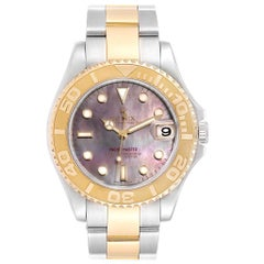 Rolex Yachtmaster 35 Midsize Steel Yellow Gold Mother of Pearl Dial Watch 168623