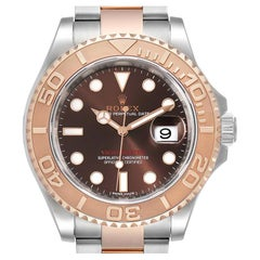Rolex Yachtmaster 40 Everose Gold Steel Brown Dial Watch 116621 Box Card