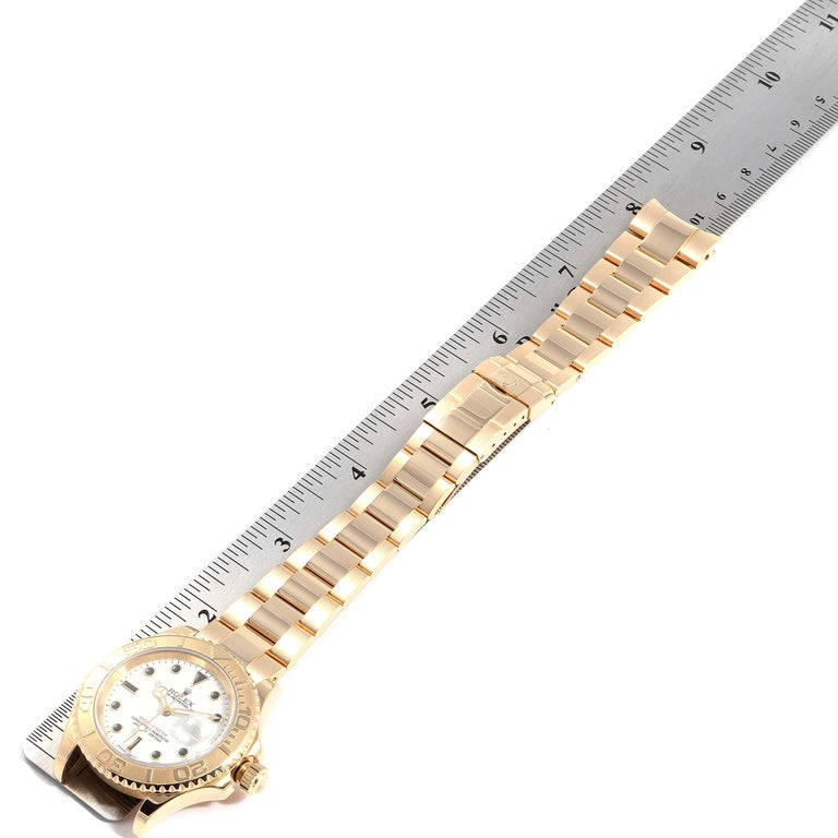 Rolex Yachtmaster 40 Yellow Gold White Dial Men's Watch 16628 Box Papers For Sale 7