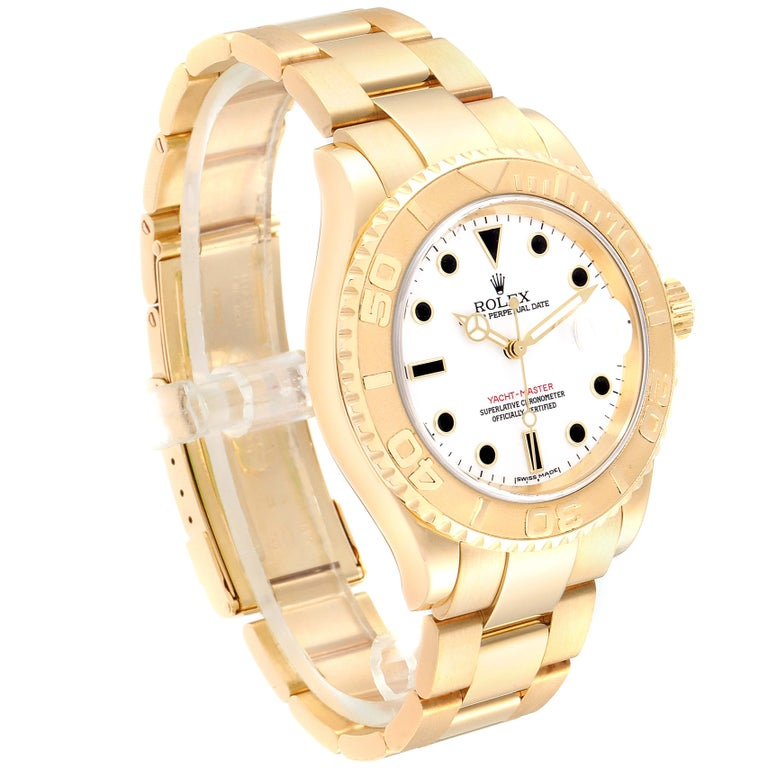 Rolex Yachtmaster 40 Yellow Gold White Dial Men's Watch 16628 Box Papers In Excellent Condition For Sale In Atlanta, GA