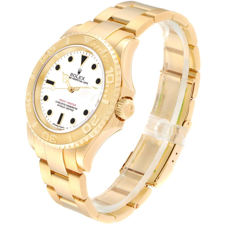 Rolex Yachtmaster 40 Yellow Gold White Dial Men's Watch 16628 Box Papers For Sale 1