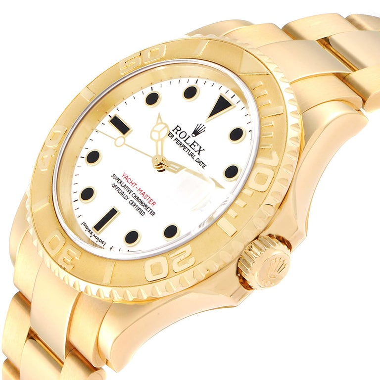 Rolex Yachtmaster 40 Yellow Gold White Dial Men's Watch 16628 Box Papers For Sale 2