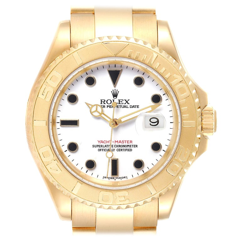 Rolex Yachtmaster 40 Yellow Gold White Dial Men's Watch 16628 Box Papers For Sale