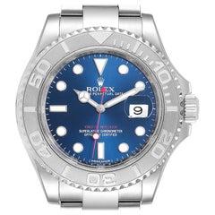 Rolex Yachtmaster Steel Platinum Blue Dial Men's Watch 116622 Box Card