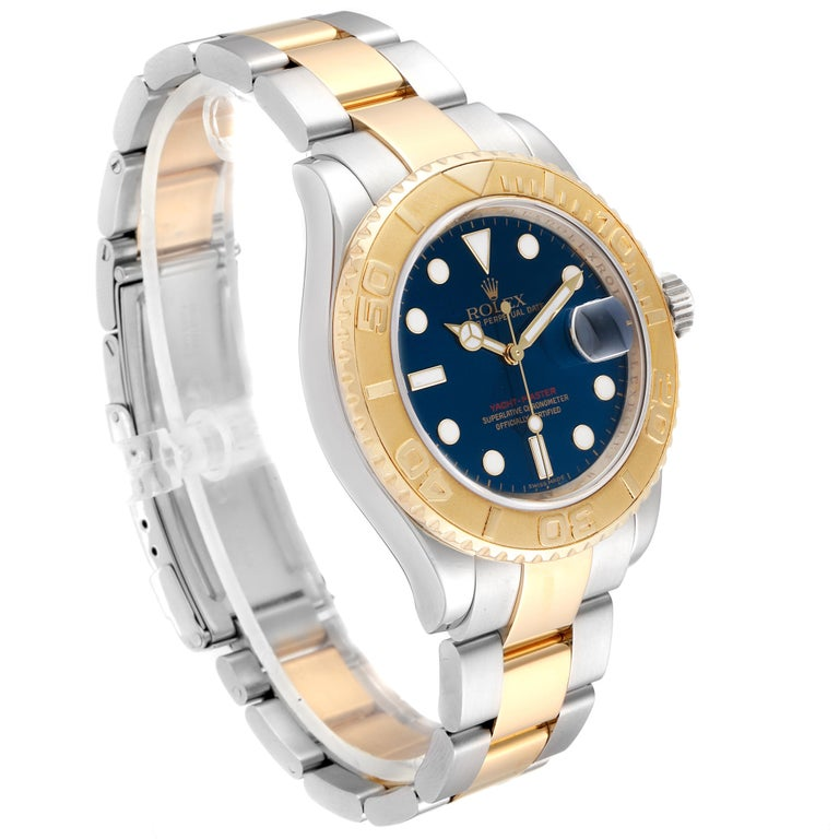Rolex Yachtmaster Steel Yellow Gold Blue Dial Men's Watch 16623 In Excellent Condition For Sale In Atlanta, GA