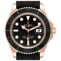 Rolex Yachtmaster Everose Gold Rubber Strap Watch 116655 Box Card