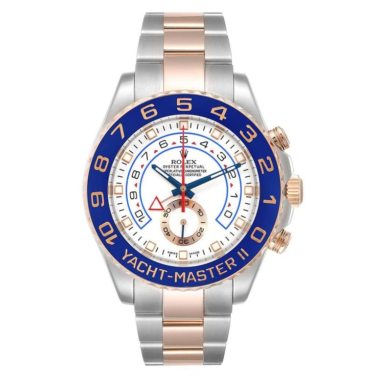 Rolex Yachtmaster II Rolesor EveRose Gold Steel Mens Watch 116681. Officially certified chronometer self-winding movement. Stainless steel and 18K rose gold case 44.0 mm in diameter. Screw down crown and caseback. Rolex logo on a crown. 90 degree