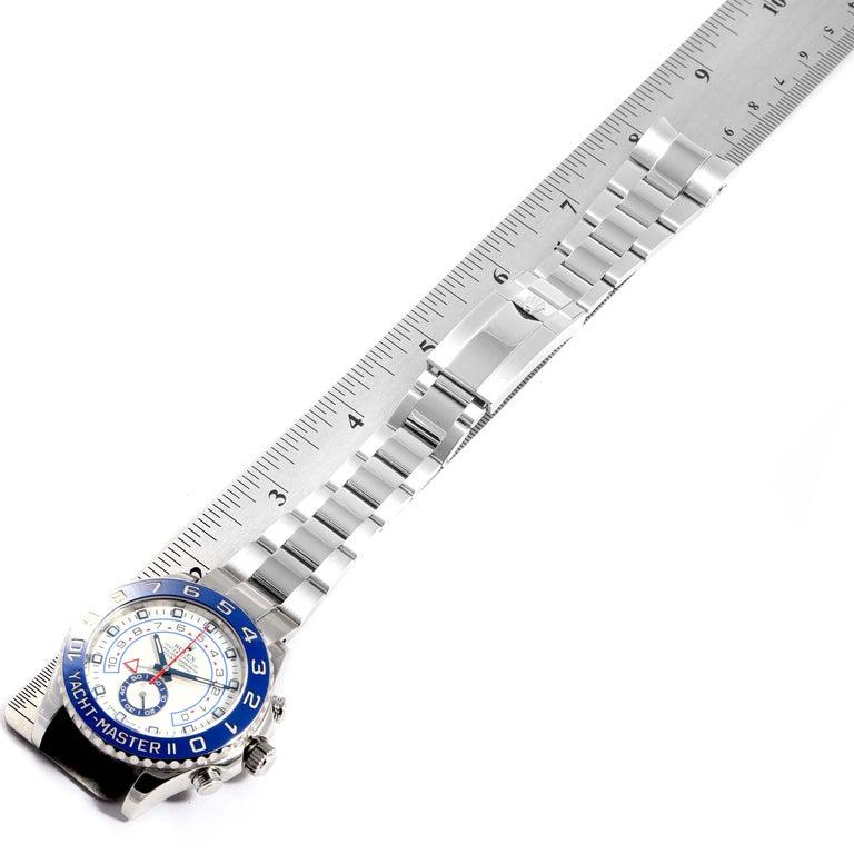 Rolex Yachtmaster II Stainless Steel Blue Bezel Men's Watch 116680 For Sale 7