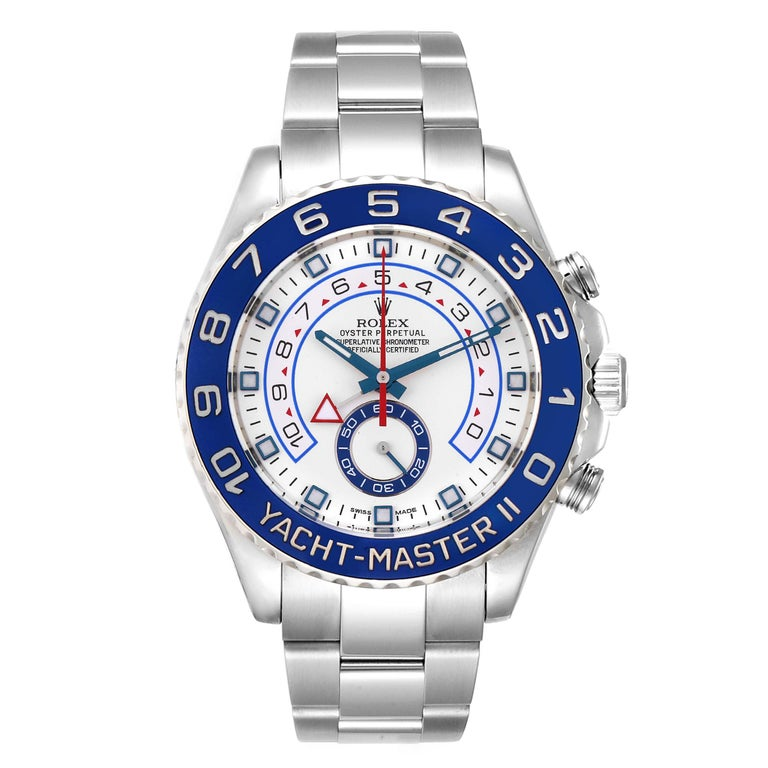 Rolex Yachtmaster II Stainless Steel Blue Bezel Mens Watch 116680. Officially certified chronometer self-winding movement. Stainless steel case 44 mm in diameter. Screw down crown and caseback. Rolex logo on a crown. 90 degree rotating blue ring