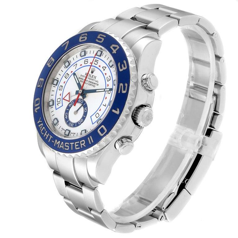 Rolex Yachtmaster II Stainless Steel Blue Bezel Men's Watch 116680 In Excellent Condition For Sale In Atlanta, GA