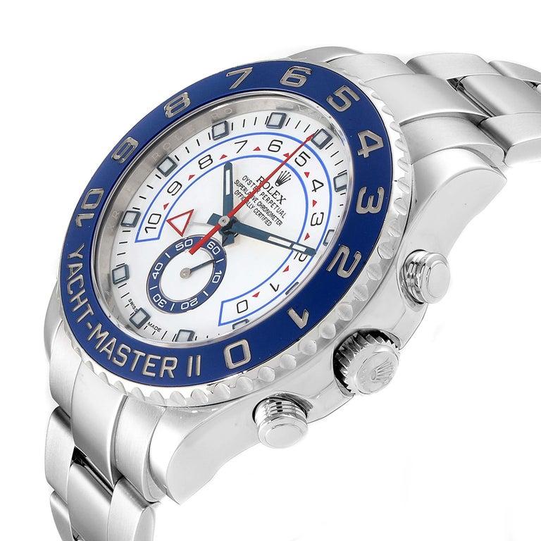 Rolex Yachtmaster II Stainless Steel Blue Bezel Men's Watch 116680 For Sale 2