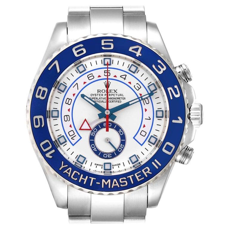 Rolex Yachtmaster II Stainless Steel Blue Bezel Men's Watch 116680 For Sale