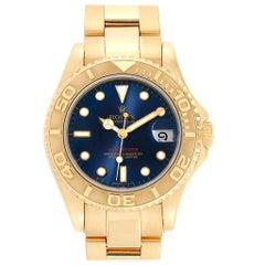 Rolex Yachtmaster Midsize 18 Karat Yellow Gold Blue Dial Unisex Watch 68628