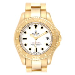 Rolex Yachtmaster Midsize 18 Karat Yellow Gold White Dial Unisex Watch 68628