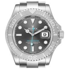 Rolex Yachtmaster Rhodium Dial Steel Platinum Men's Watch 116622 Box Papers