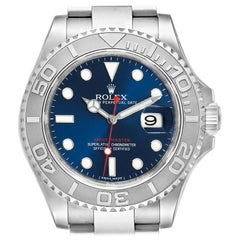 Rolex Yachtmaster Steel Platinum Blue Dial Men's Watch 116622 Box Card