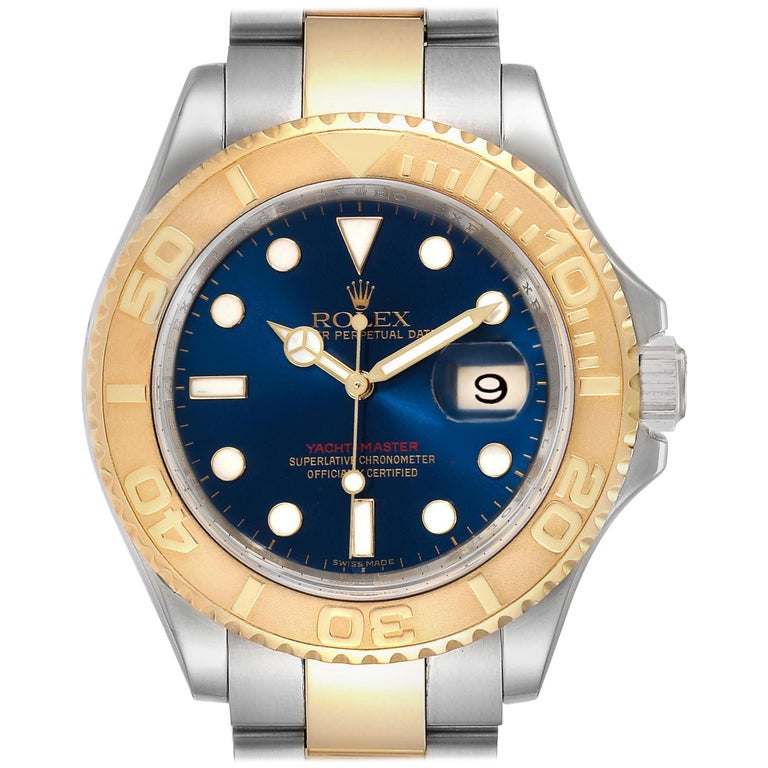 Rolex Yachtmaster Steel Yellow Gold Blue Dial Men's Watch 16623 For Sale