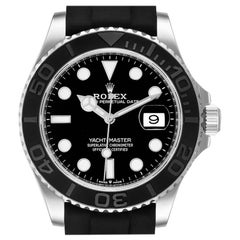Rolex Yachtmaster White Gold Black Rubber Strap Men's Watch 226659 Box Card