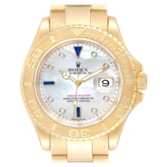 Rolex Yachtmaster Yellow Gold MOP Diamond Sapphire Serti Watch 16628