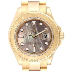 Rolex Yachtmaster Yellow Gold Mother of Pearl Men's Watch 16628 Box Card