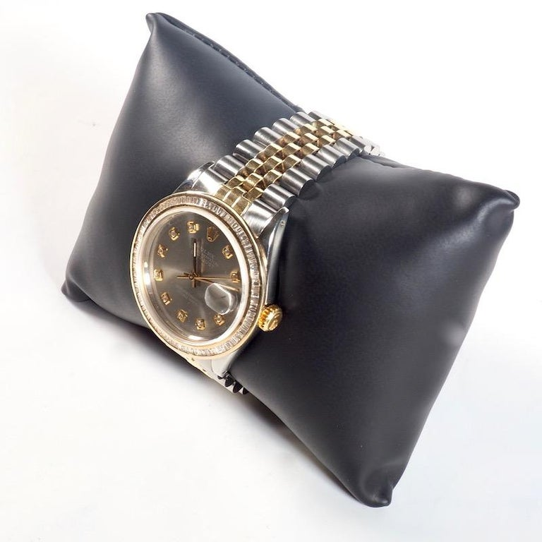 Contemporary Rolex Yellow Gold and Diamond DateJust Oyster Perpetual Wristwatch For Sale