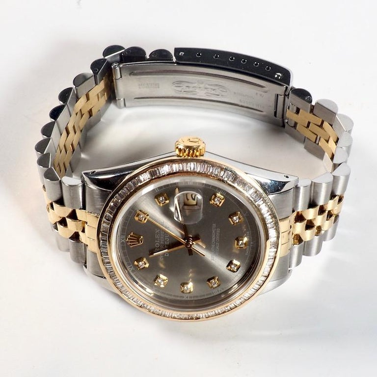 Baguette Cut Rolex Yellow Gold and Diamond DateJust Oyster Perpetual Wristwatch For Sale