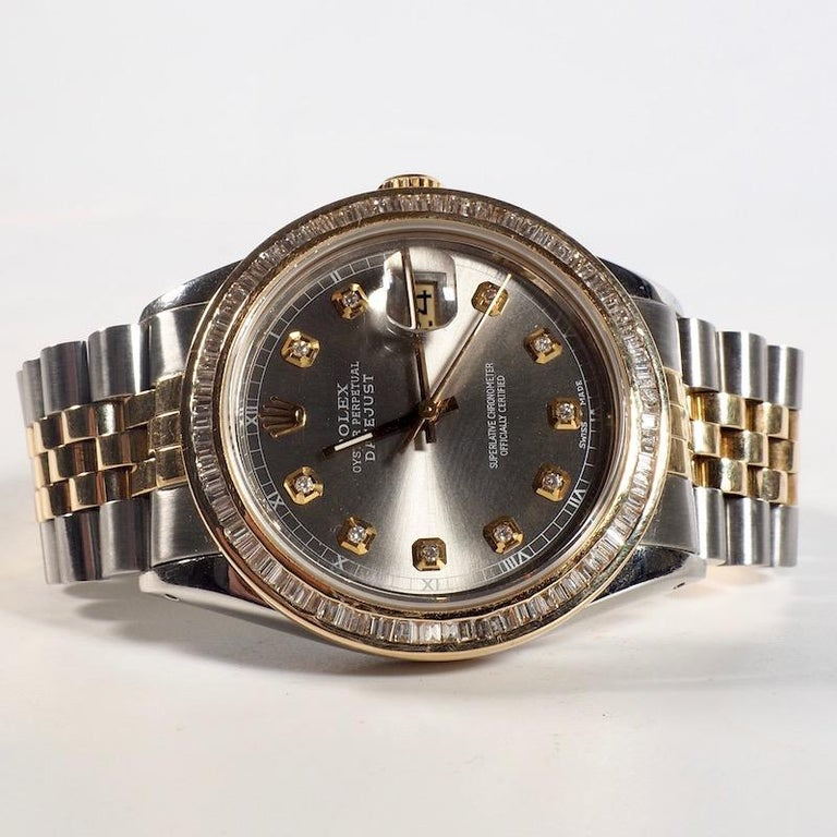 Rolex Yellow Gold and Diamond DateJust Oyster Perpetual Wristwatch In Excellent Condition For Sale In London, GB