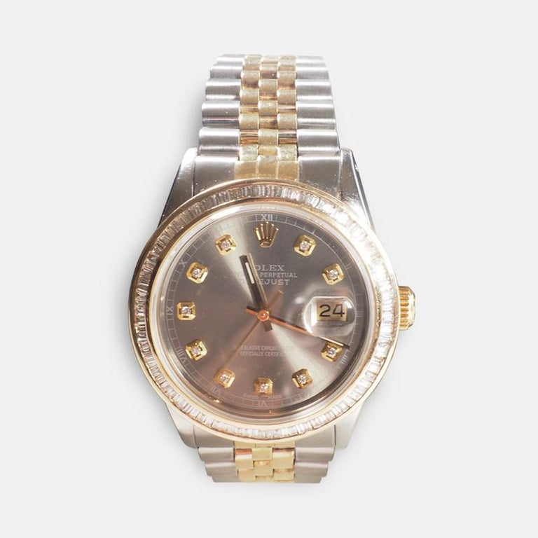 Rolex Yellow Gold and Diamond DateJust Oyster Perpetual Wristwatch For Sale 1