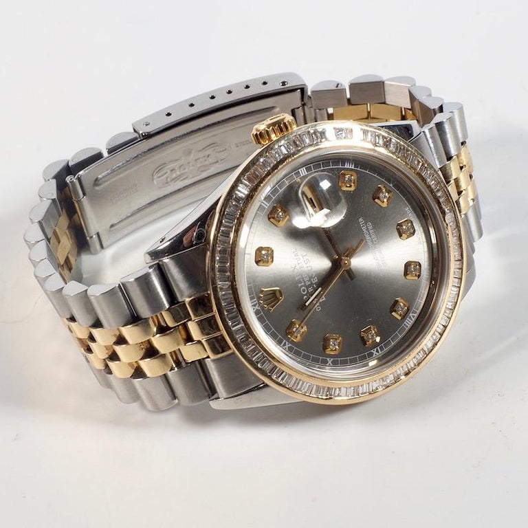 Rolex Yellow Gold and Diamond DateJust Oyster Perpetual Wristwatch For Sale 2