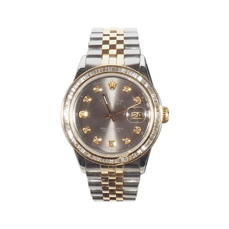 Rolex Yellow Gold and Diamond DateJust Oyster Perpetual Wristwatch For Sale