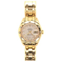 Rolex Yellow Gold and Diamond Ladies Pearlmaster Watch