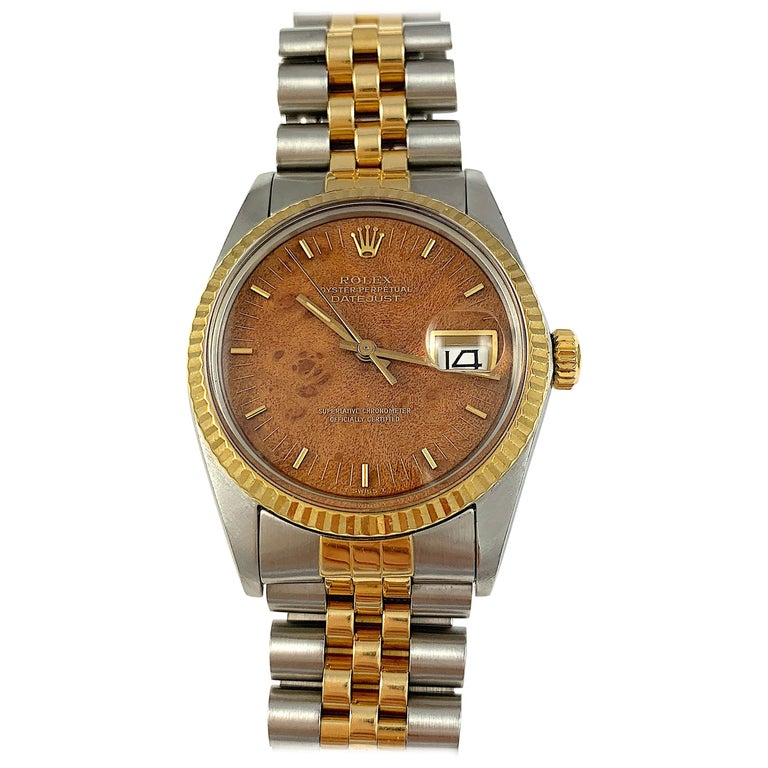 Rolex Yellow Gold And Stainless Wood Dial Oyster Perpetual Datejust Watch