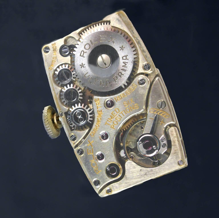 Rolex Yellow Gold Art Deco Articulated Lugs Chronometre Wristwatch, 1937 For Sale 8