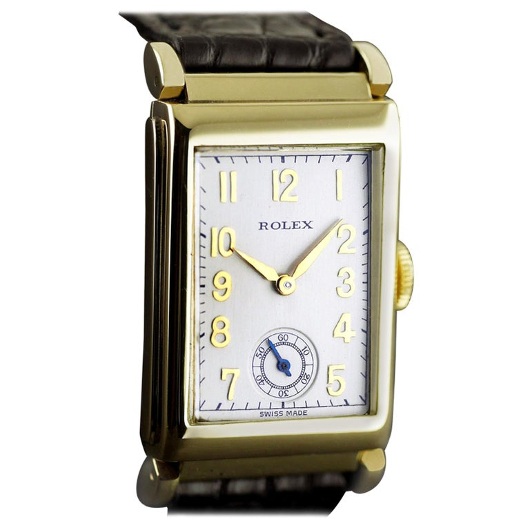 Rolex Yellow Gold Art Deco Articulated Lugs Chronometre Wristwatch, 1937 For Sale 9